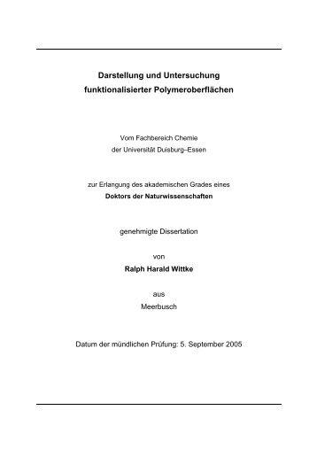 Darstellung und Untersuchung funktionalisierter Polymeroberflächen