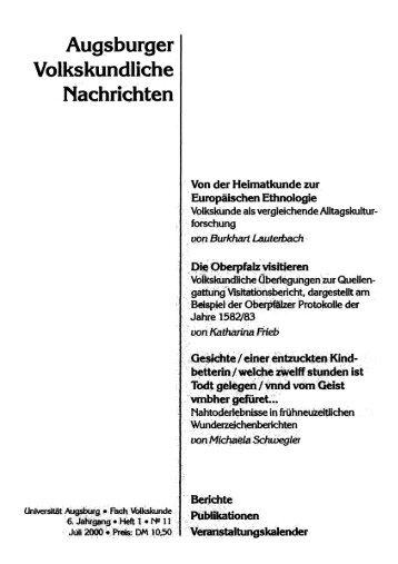 Augsburger Volkskundliche Nachrichten - OPUS Augsburg ...