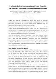 Die Handschriften-Sammlung Joseph Franz Trauschs. Ein Juwel ...