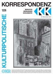 Ausgabe 1326 als PDF zum Download - Kulturportal West Ost