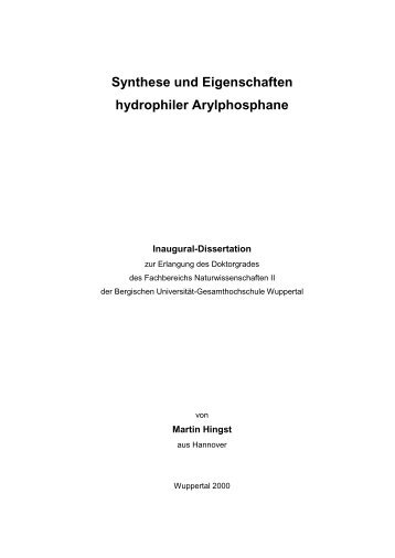 Synthese und Eigenschaften hydrophiler Arylphosphane