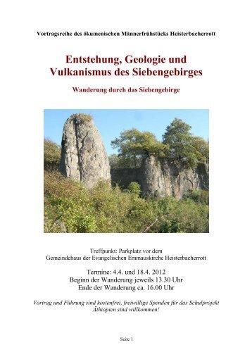 Entstehung, Geologie und Vulkanismus des Siebengebirges