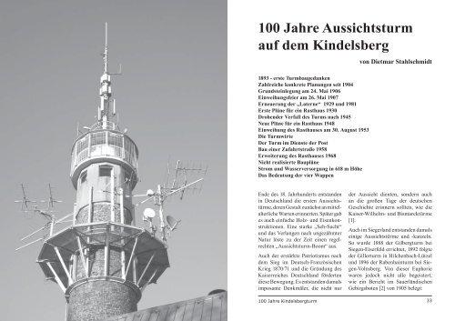 100 Jahre Aussichtsturm auf dem Kindelsberg - Ferndorf