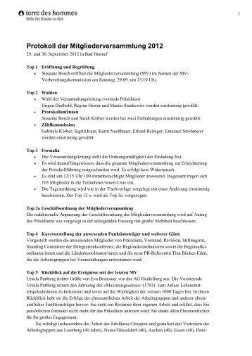 Protokoll der Mitgliederversammlung 2012 - Terre des Hommes