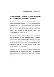Union Investment acquires additional 25% stake in Limbecker