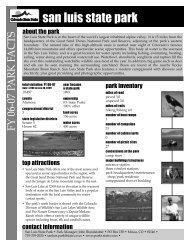 San Luis State Park Fact Sheet - Colorado State Parks