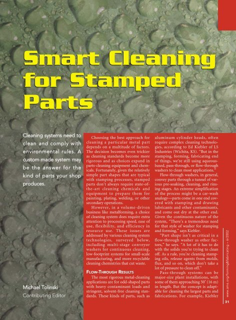 Smart Cleaning for Stamped Parts Smart Cleaning for Stamped Parts