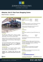 Allestree, Unit 21 Park Farm Shop Park Farm ... - Johnson Fellows
