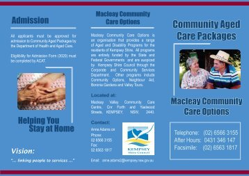 Community Aged Care Packages Brochure - Kempsey Shire Council