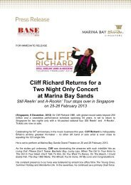 Cliff Richards returns for a two night concert - Marina Bay Sands