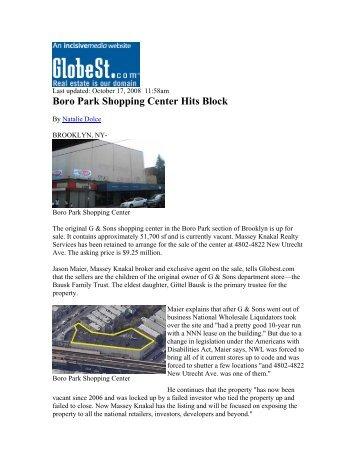 Boro Park Shopping Center Hits Block - Massey Knakal Realty ...