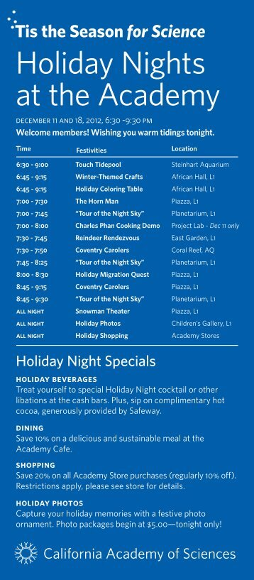 Holiday Nights at the Academy - California Academy of Sciences