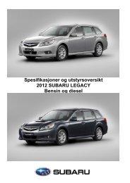 Spesifikasjoner og utstyrsoversikt 2012 SUBARU ... - Subaru Norge