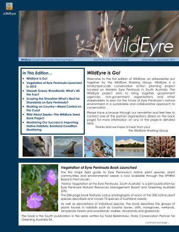 WildEyre eNewsletter DRAFT 1 - Eyre Peninsula Natural Resources ...