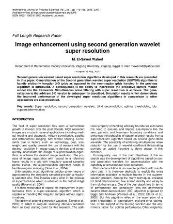 Image enhancement using second generation wavelet super ...