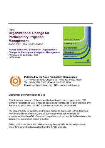 Organizational Change for Participatory Irrigation Management