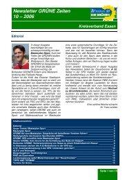 Newsletter GRÜNE Zeiten 10 – 2006 - Die Grünen Essen