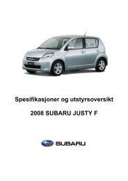 Spesifikasjoner og utstyrsoversikt 2008 SUBARU ... - Subaru Norge
