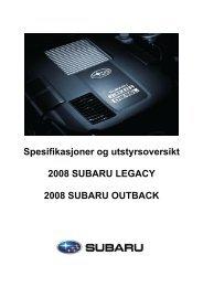 Klikk her for å laste ned spesifikasjoner og - Subaru Norge