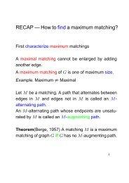 RECAP — How to find a maximum matching? - ETH - D-INFK