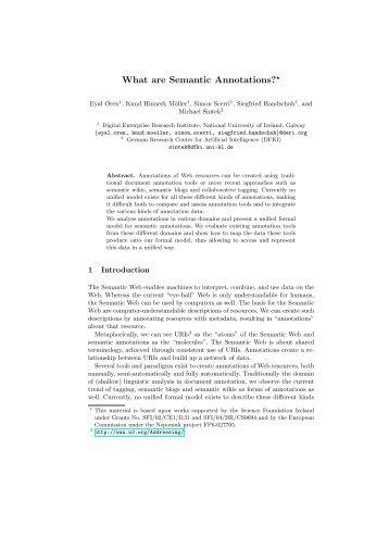 What are Semantic Annotations?* - CiteSeerX