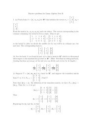 Practice problems for Linear Algebra Test II. 1. (a) Find a basis S = {v ...