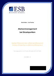 Markenmanagement bei Einzelsportlern - ESB Business School