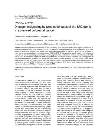 Review Article Oncogenic signaling by tyrosine kinases of the SRC ...