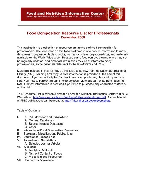 Food Composition Resource List for Professionals - National
