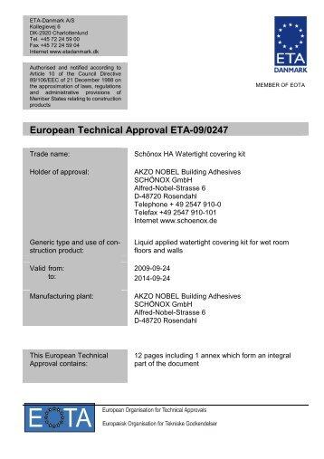 European Technical Approval ETA-09/0247 - ETA-Danmark
