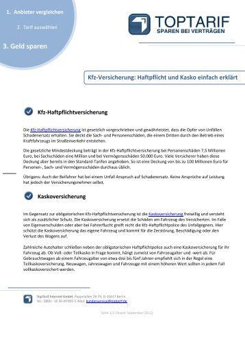 Kasko & Haftpflicht - Kfz-Versicherung - TopTarif.de