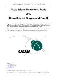 Aktualisierte Umwelterklärung 2012 Umweltdienst Burgenland GmbH