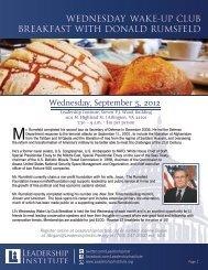 wednesday wake-up club breakfast with donald rumsfeld