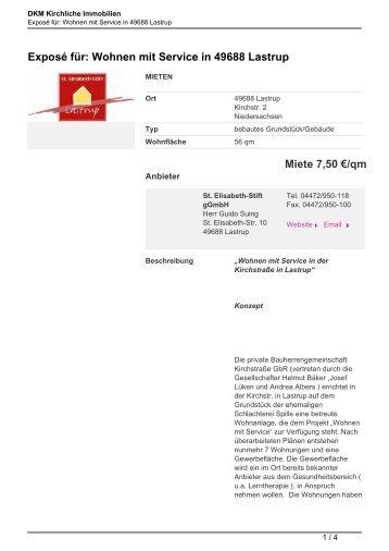 Exposé für: Wohnen mit Service in 49688 Lastrup - Kirchliche ...