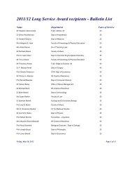 2011/12 Long Service Award recipients - University of Toronto ...