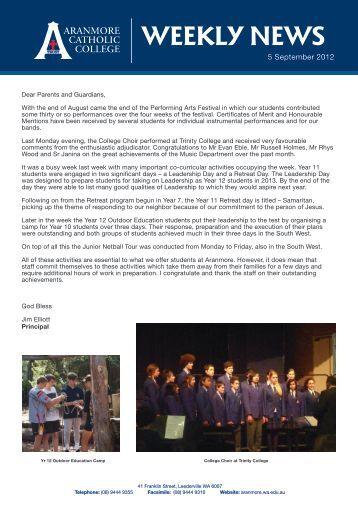 WEEKLY NEWS - Aranmore Catholic College