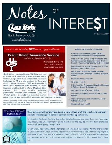 www.lesboisfcu.org Credit Union Insurance Service Bank the way ...