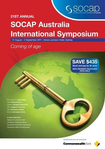 21st AnnuAl sOCAP Australia International symposium
