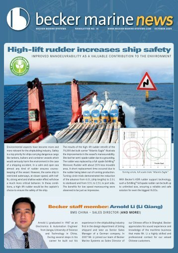 High-lift rudder increases ship safety - Becker Marine Systems