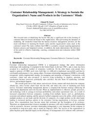 Customer Relationship Management: A Strategy to ... - EuroJournals