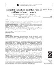 Hospital facilities and the role of evidence-based design