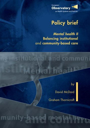 Mental health II, Balancing institutional and - World Health ...