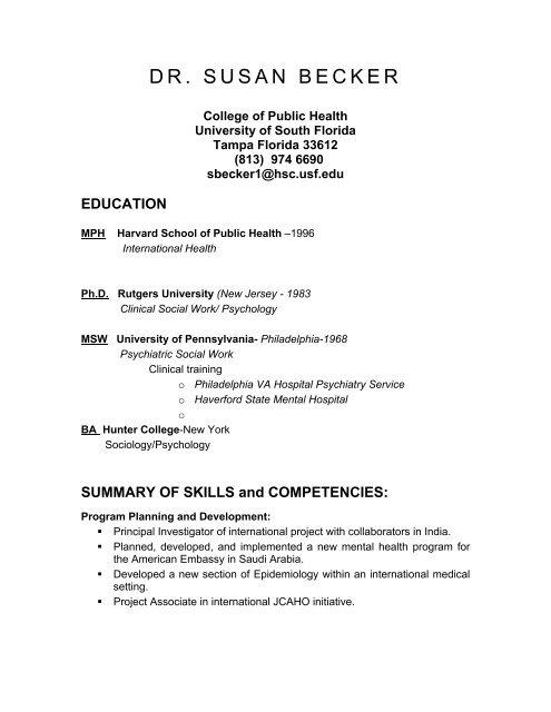 Dr Susan Becker University Of South Florida