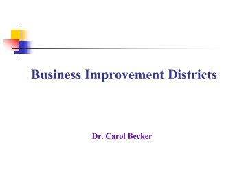 Community Business Improvement Districts and Special Service
