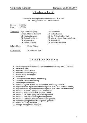 TGO-Pkt. 17: (geheim) - Gemeinde Ranggen