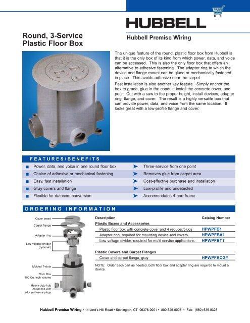 Super Round 3 Service Plastic Floor Box Hubbell Premise Wiring Wiring Digital Resources Funapmognl