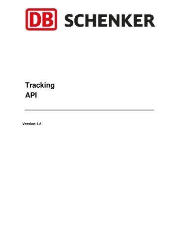 API Documentation DB Schenker Tracking ver 1.5