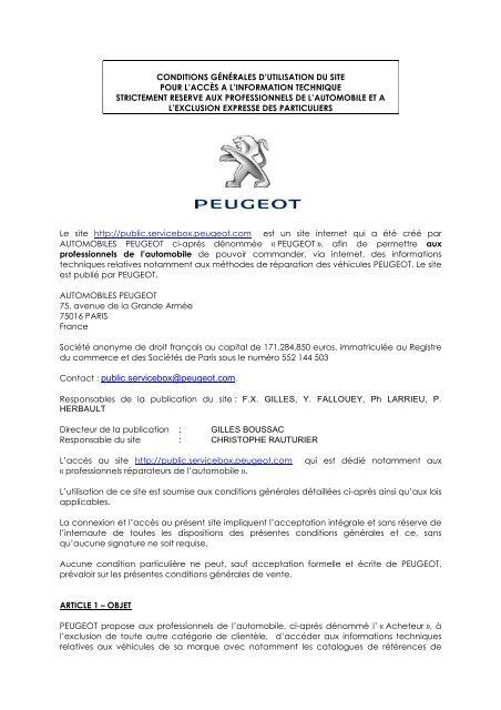 Contact : public servicebox@peugeot com