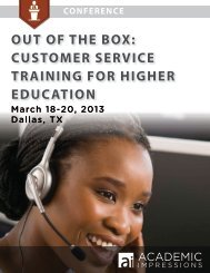 OUT OF THE BOX: CUSTOMER SERVICE TRAINING FOR HIGHER ...