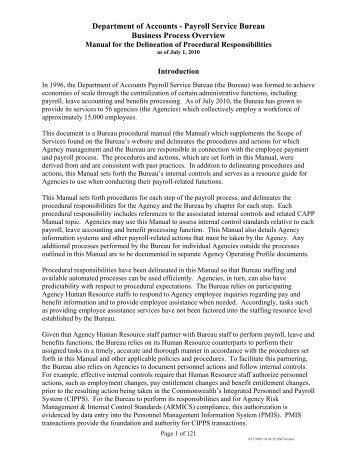 Payroll Service Bureau Business Process Overview - Virginia ...